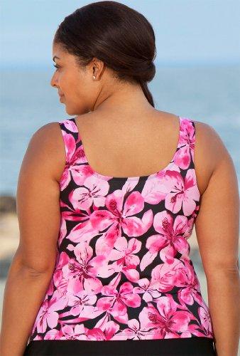 Beach Belle Honolulu Pink Plus Size Tankini Top Plus Size Swimwear