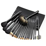 FakeFace 21 Pcs Top Grade Luxury Professional Natural Sheep Wool Horse Hair Makeup Brush Kit In Leather Bag Best...