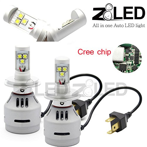 Z8 2X All-In-One H4 9003 Hb2 Super Bright Auto Card Headlight Direct Plug Cree-Xm-L2 Chip High-Low Beam 6000 Lumen Z8Led 3G-H46000K