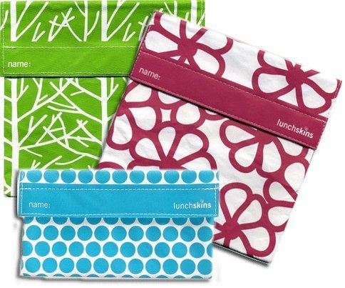 Lunchskins 3pk Reusable Sandwich Bags: Flower Tree Dot - 1