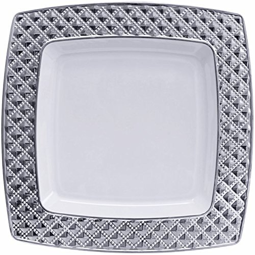 Diamond Collection Elegant China-like Disposable Plates 9.75  White and Silver 10 Count (Pack of 4)  sc 1 st  Successflow Superstore : elegant plates disposable - pezcame.com