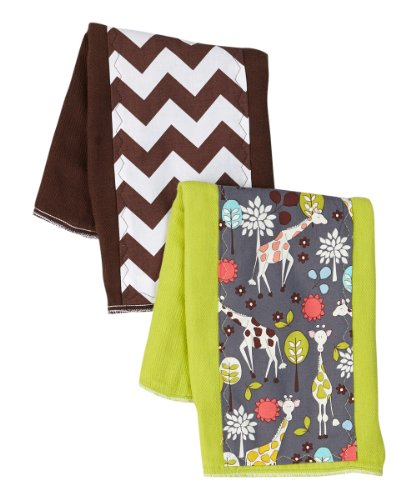 Boys Burp Cloth Set of 2 - Giraffe Zoo and Chveron