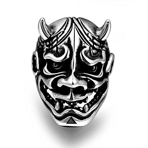 NITAN Gioielli anello acciaio nero Ghost Warrior maschera forma buon regalo per ragazzo