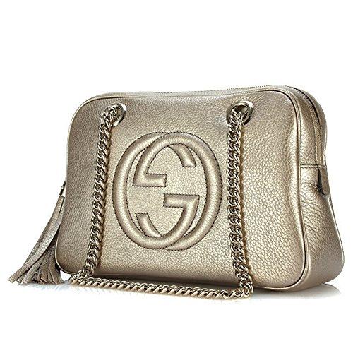 3f0f7aba5e6a Gucci Soho Golden Beige Soft Metallic Leather Chain Shoulder Bag 308983  AH90G 9524 - SHOP HANDBAG BOUTIQUE