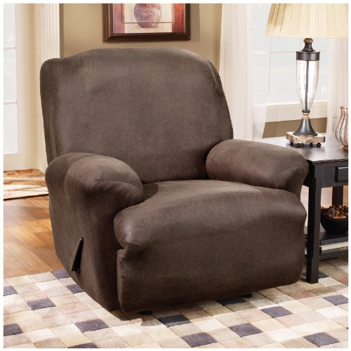 Sure Fit Stretch Leather Recliner Slipcover, Camel