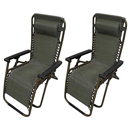 KINGSO Zero Gravity Recliner Lounge Patio Pool Chair - 2 PACK -Khaki