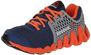 Reebok Zigtech Big N Fast EX Running Shoe (Little Kid/Big Kid), Batik Blue/Flat Grey/Vivid Tangerine/Indigo, 3 M US Little Kid