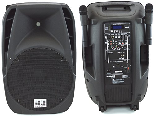 "Musysic 1600 Watts Professional Portable Dual Mic Wireless Rechargeable 15"" Speaker Pa System Mu-15Pa"