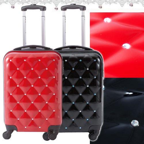 キラキラジュエリースーツケース/キャラート/ジッパー4輪/ファスナー式/機内持込可能/TSAロック/ラインストーン/水玉/ブラック レッド/61482