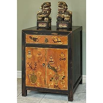 Hand Crafted Vintage Vase and Floral motif Tibetan Cabinet