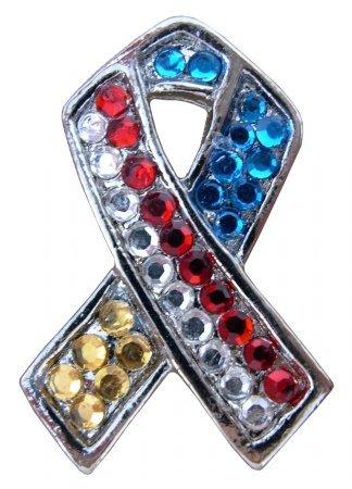 Rhinestone Ruby 0501080 Cell Phone Charm Red, White & Blue Ribbon