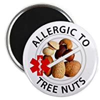 ALLERGIC TO TREE NUTS Medical Alert 2.25 inch Fridge Magnet from Creative Clam