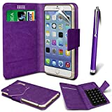 N4U Online® - Nokia Asha 500 PU Leather Suction Pad Wallet Case Cover & High Sensitive Stylus Pen - Purple