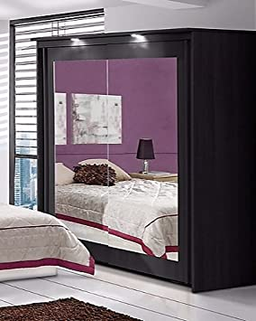 Bronte Armario con espejo de 2puertascorrederas, acabado en Negro