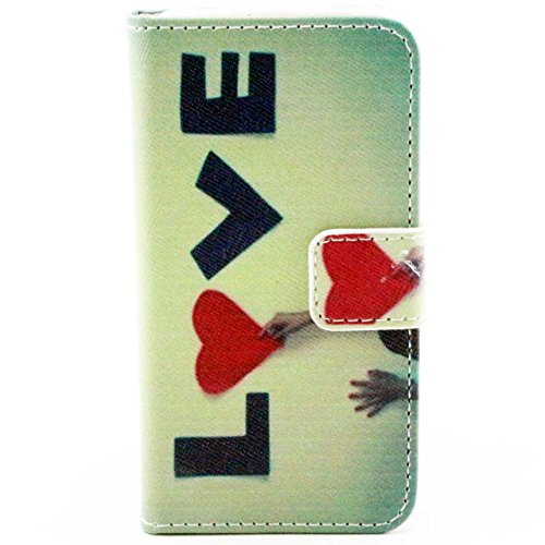 Luv You Iphone 4 4S 4G Case,Love And Hand Pattern Style Lv-Yo Design Style Beautiful High Quality Luxury Premium Pu Leather Feature Flip Magnet Wallet Stand Smart Case Cover Protective With Id Credit Card Holder Slots Cute Tpu Case Fit For Apple Iphone Ve front-57061