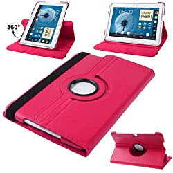 DNG 360 Rotating PU Leather Stand Case Cover For Samsung Galaxy Note 10.1 P600 2014 Edition Hot Pink