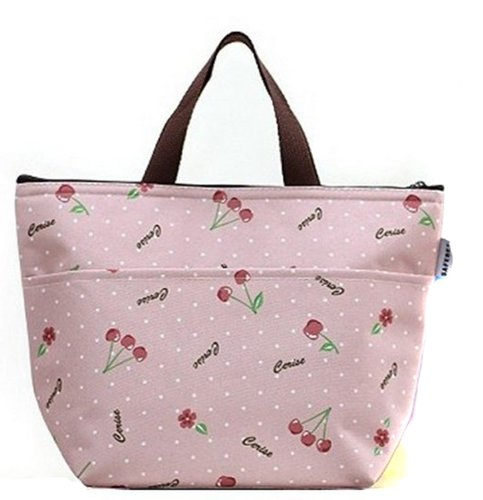 Nsstar Waterproof Picnic Lunch Bag Tote Insulated Cooler Travel Zipper Organizer Box (Cherry) - 1