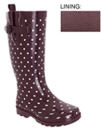 Capelli New York Ladies Tall Rubber Rain Boot Shiny Dots Printed with Buckle