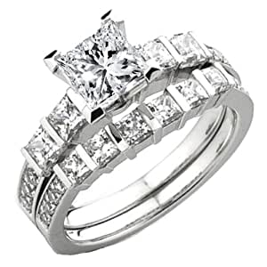 0.80 Carat (Ctw) 14k White Gold Princess & Round Diamond Semi Mount Ring Set (No Center) (Size 4)