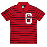 Plums Red Stripes Polo T-shirt For Boys