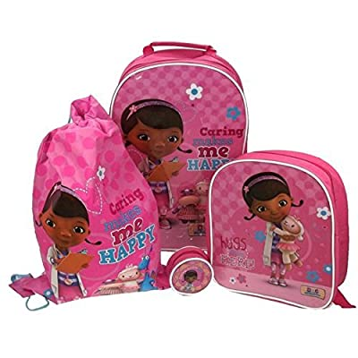Official Disney Doc McStuffins Girls Pink 4 Piece Holiday Luggage Set Suitcase Trolley Travel Drawstring Purse Wallet Coin Pouch Bag Back To School