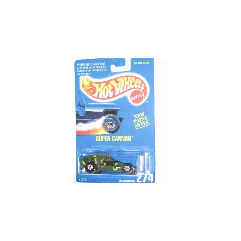 #274 Super Cannon Basic Wheels White Collectible Collector Car Mattel Hot Wheels 164 Scale