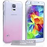 Yousave Accessories Samsung Galaxy S5 H�lle Hellrosa / Klare Regentropfen Hart Schutzh�lle