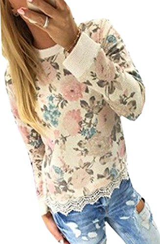Ladies Crew Neck Floral Print Long Sleeve Blouse T-Shirt With Lace Trim XL