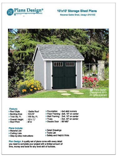Storage shed plans 10 39 x 10 39 reverse gable roof style for Free shed design software with materials list