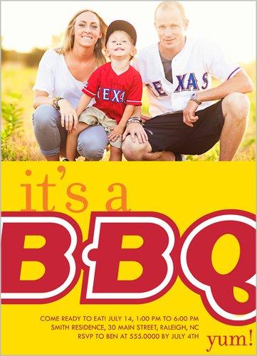 Big BBQ Summer Invitation Yellow 5X7 Flat Card
