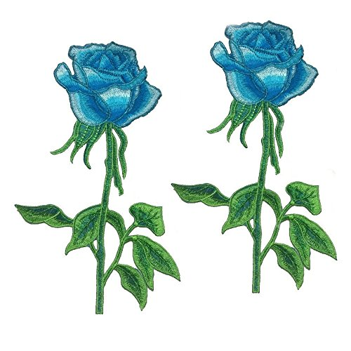 Embroidery Patches Roses Flowers Iron On Applique Accessory For Clothing DIY Pack of 2 Pcs (Blue)