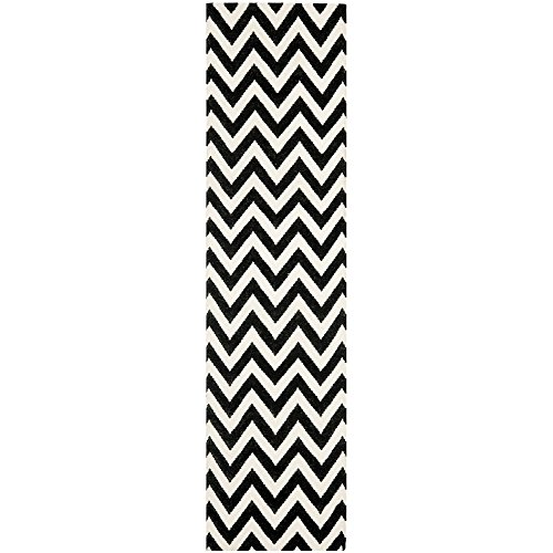 Safavieh Dhurries Collection DHU557L Hand Woven Black and Ivory Wool Runner, 2 feet 6 inches by 12 feet (2'6