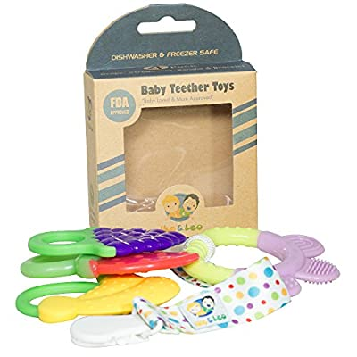Ike & Leo Teething Toys: Baby Infant and Toddler WITH Pacifier Clip / Teether Holder, Best for Sore Gums Pain Relief, Eco Friendly BPA Free & Freezer Safe, Set of 4 Silicone Teethers by Ike & Leo that we recomend personally.