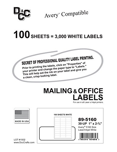 3 000 dcc u00ae generic white self adhesive address labels 1 x 2 8 u0026quot   avery  5160 size  30