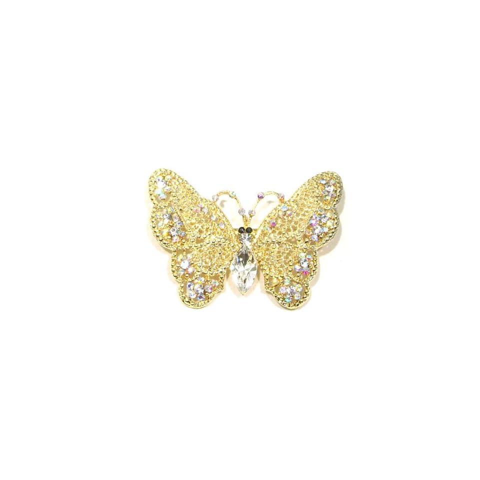 AB Clear Austrian Rhinestone Butterfly Designed Gold Tone Brooch Pin