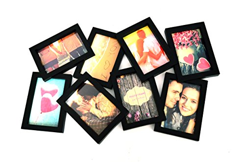 BestBuy Frames Black Puzzle Style with 8 Openings Collage Picture Frame, Fits Standard 4x6 Inch Photos, Perfect Photo Frame for Family, Friends, Travel Pictures. Collage and Multiple Opening Frames (Picture Frame Puzzle compare prices)