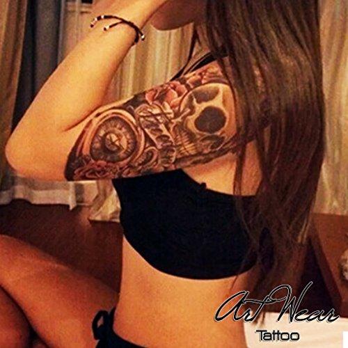 "Tatuaggio Temporaneo ""Skull & Roses"" - ArtWear Tattoo - B0002 M"