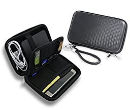 ZHPUAT Portable External Hard Drive Case, PU Leather Shockproof Carrying Case + Key Ring with Attached Lanyard - Black