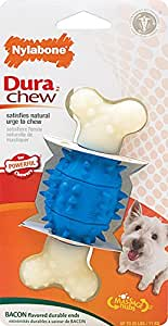 Nylabone Dura Chew Regular Bacon Flavored Double Action Dental Spiky Bone Dog Chew Toy
