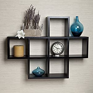 Danya B. Cubby Laminated Black Veneer Display Wall Shelf