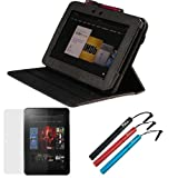 GTMax Black Lizard Pattern 360 Degrees Rotating Smart Leather Case Cover plus 3pcs Stylus, LCD Screen Protector for Amazon Kindle Fire HD 8.9 inch Tablet [ Bulit-in Stylus Loop, Automatically Wakes and Puts your Tablet to Sleep]