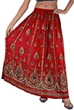 Skirts N Scarves Women's Rayon Sequins Hand Beaded Painted Long Skirt Red