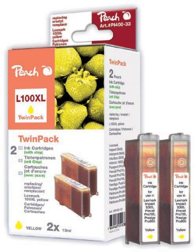 Peach Spar Pack, 2 Tintenpatronen yellow mit Chip kompatibel zu Lexmark No. 100XL, 14N1095