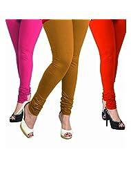 Lux Women Cotton Leggings -Light Fuchsia, Biscuit, Mango. -Free Size (Set Of Three) L35_38_57
