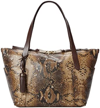 Cole Haan Parker Exotic Small Zip Top Shopper B43233 Travel Tote,Chestnut Splatter,One Size