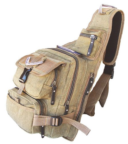 MILITARY INSPIRED BACKPACK HIKING CAMPING SLING BAG DAYPACK KHAKI GREEN