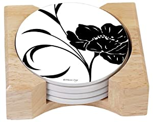 CounterArt Black Tie Design Absorbent Coasters in Wooden Holder, Set of 4 at Sears.com