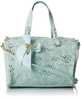 Betsey Johnson Racey Lacey Satchel Top Handle Bag,Mint,One Size