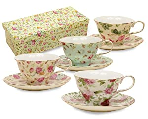 Gracie China Rose Chintz 8-Ounce Porcelain Tea Cup and Saucer, Assorted colors, Set of 4 by Gracie China Coastline Imports
