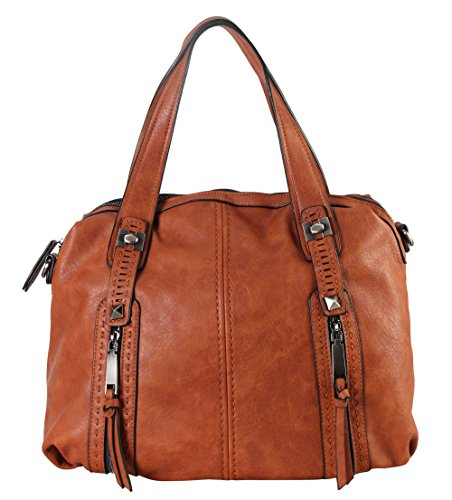 diophy-gun-metal-double-front-pockets-doctor-style-tote-handbag-cz-3724-brown